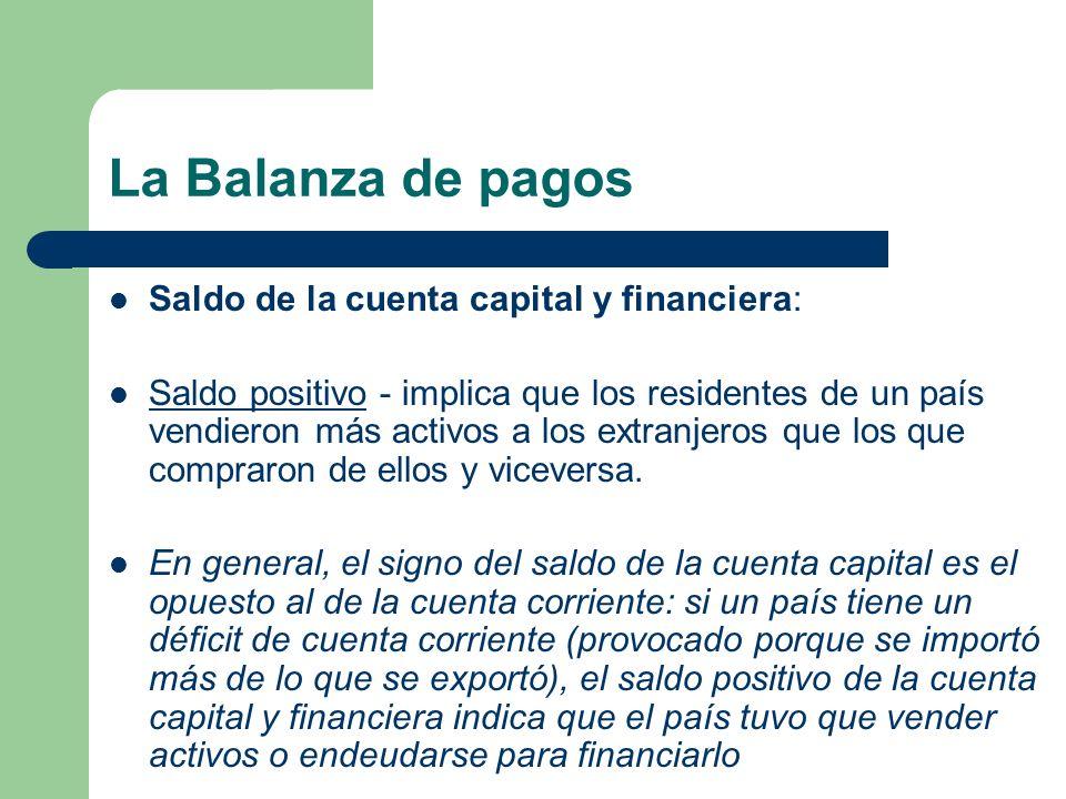 La Balanza de pagos Saldo de la cuenta capital y financiera: