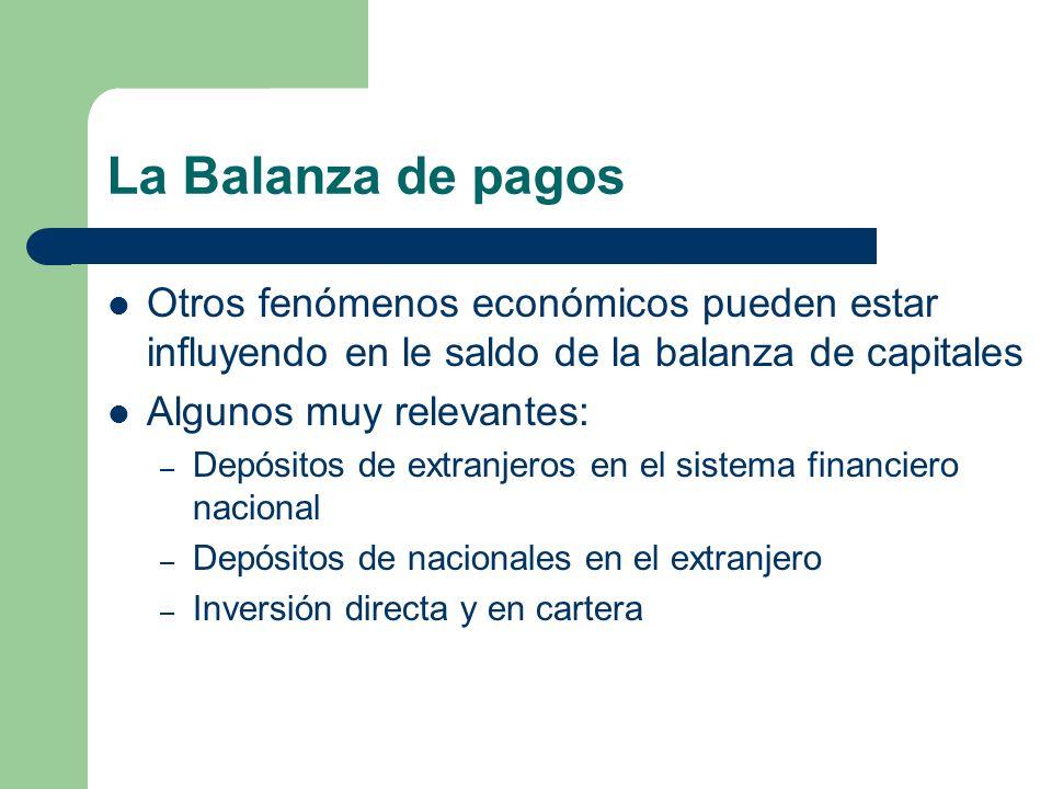 La Balanza de pagos Otros fenómenos económicos pueden estar influyendo en le saldo de la balanza de capitales.