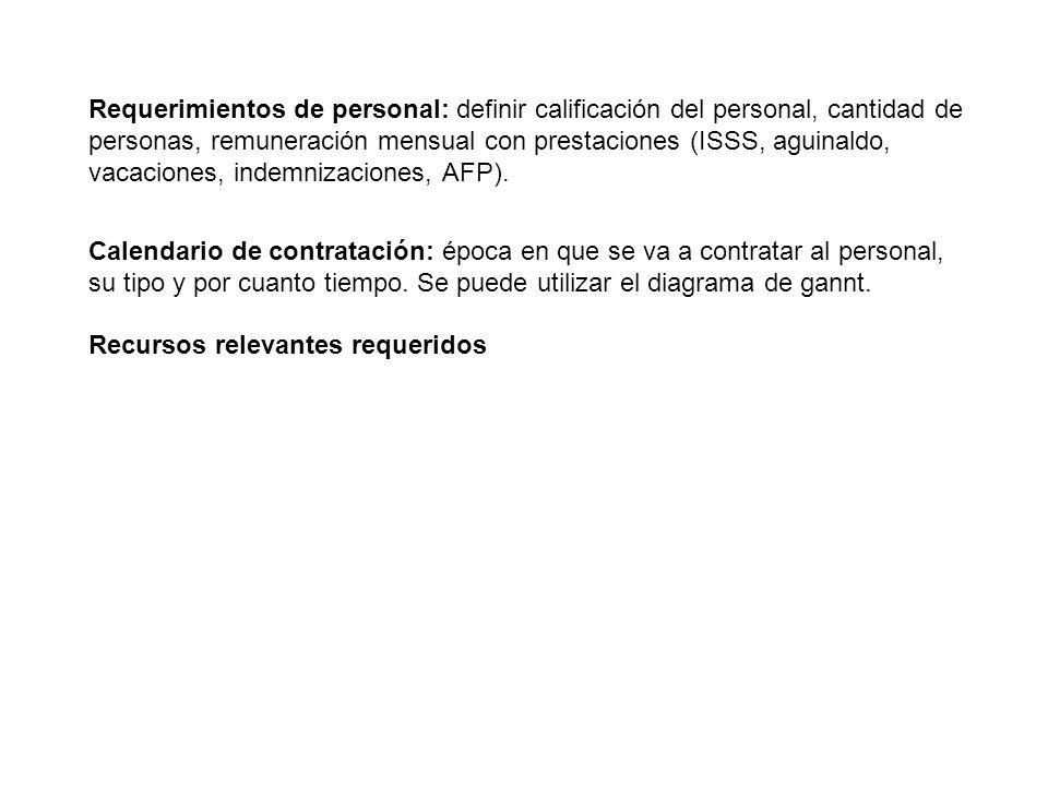 Requerimientos de personal: definir calificación del personal, cantidad de personas, remuneración mensual con prestaciones (ISSS, aguinaldo, vacaciones, indemnizaciones, AFP).