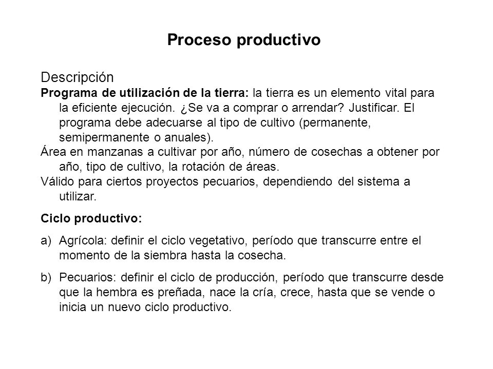 Proceso productivo Descripción