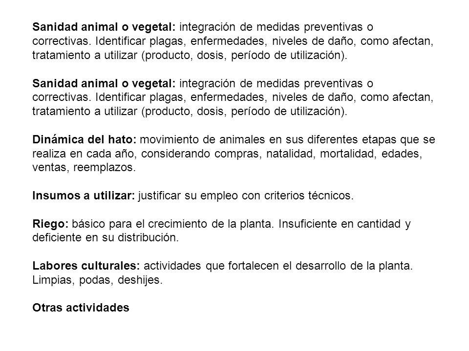 Sanidad animal o vegetal: integración de medidas preventivas o correctivas. Identificar plagas, enfermedades, niveles de daño, como afectan, tratamiento a utilizar (producto, dosis, período de utilización).