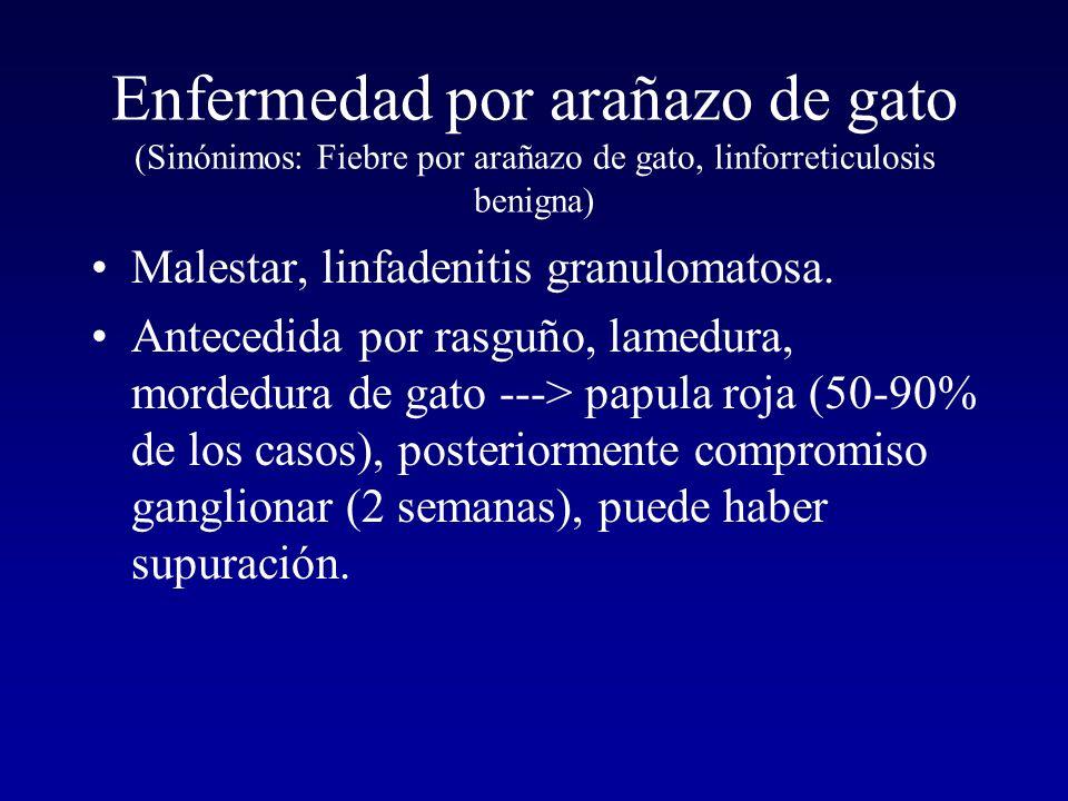Enfermedad por arañazo de gato (Sinónimos: Fiebre por arañazo de gato, linforreticulosis benigna)