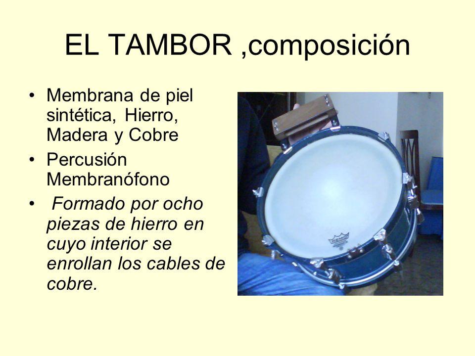 EL TAMBOR ,composición Membrana de piel sintética, Hierro, Madera y Cobre. Percusión Membranófono.