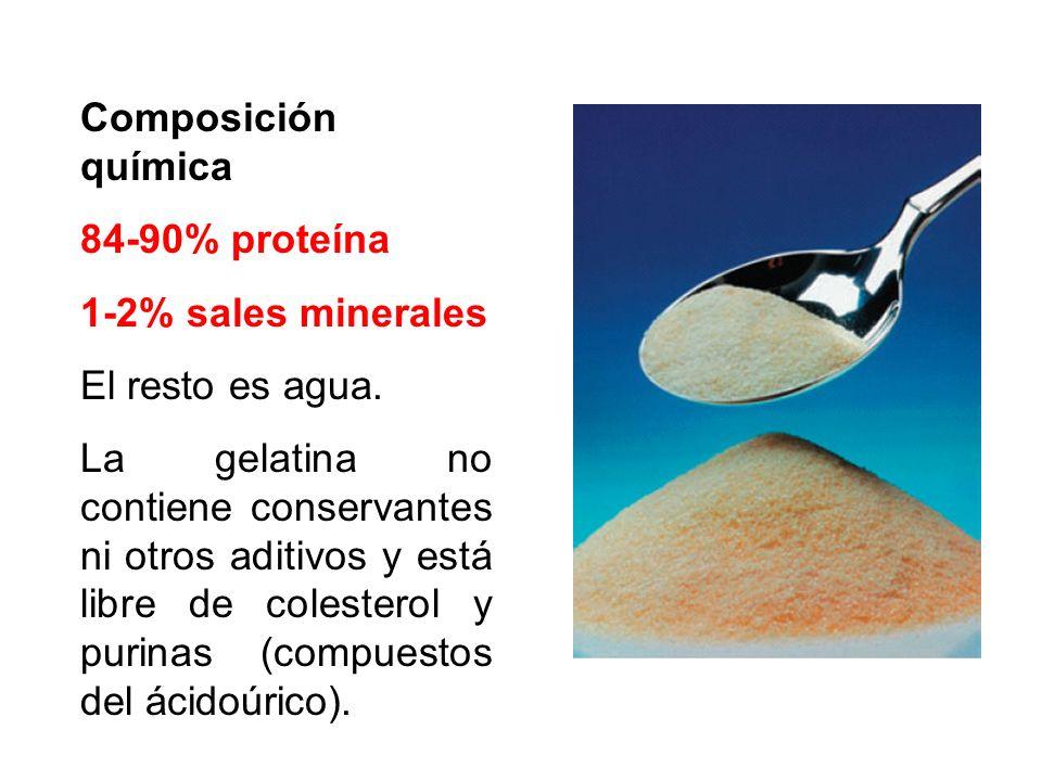 Composición química 84-90% proteína. 1-2% sales minerales. El resto es agua.