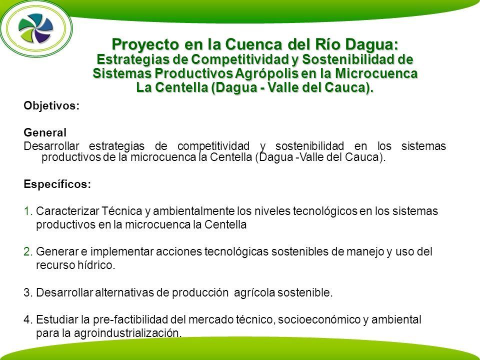 Proyecto en la Cuenca del Río Dagua: Estrategias de Competitividad y Sostenibilidad de Sistemas Productivos Agrópolis en la Microcuenca La Centella (Dagua - Valle del Cauca).