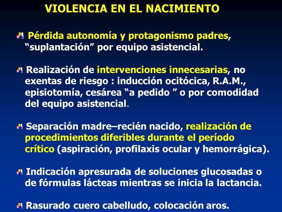 VIOLENCIA EN EL NACIMIENTO Pérdida autonomía y protagonismo padres,