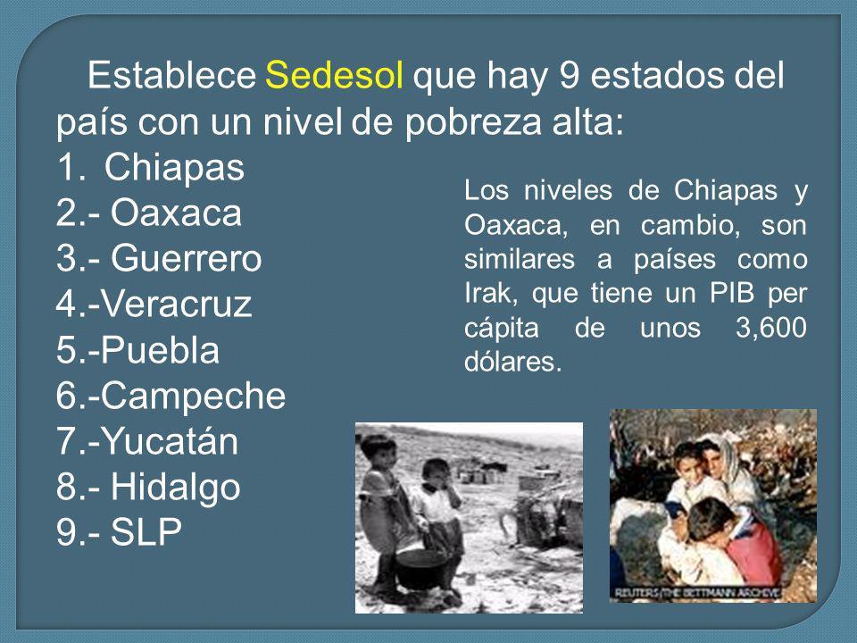 Establece Sedesol que hay 9 estados del país con un nivel de pobreza alta: