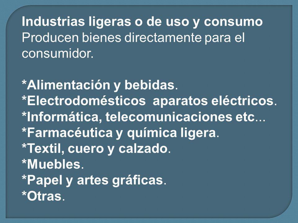 Industrias ligeras o de uso y consumo