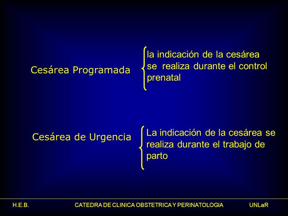 la indicación de la cesárea se realiza durante el control prenatal