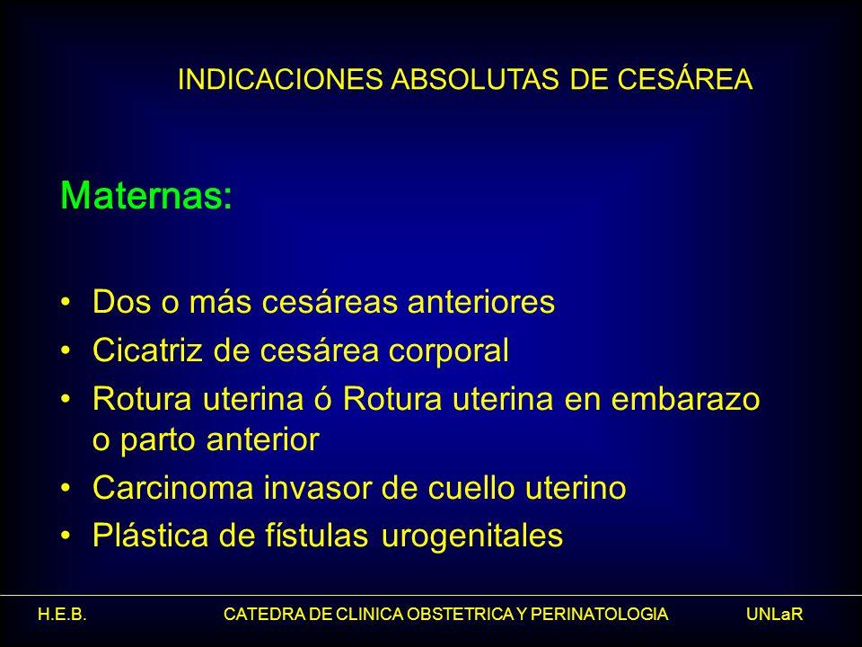 INDICACIONES ABSOLUTAS DE CESÁREA