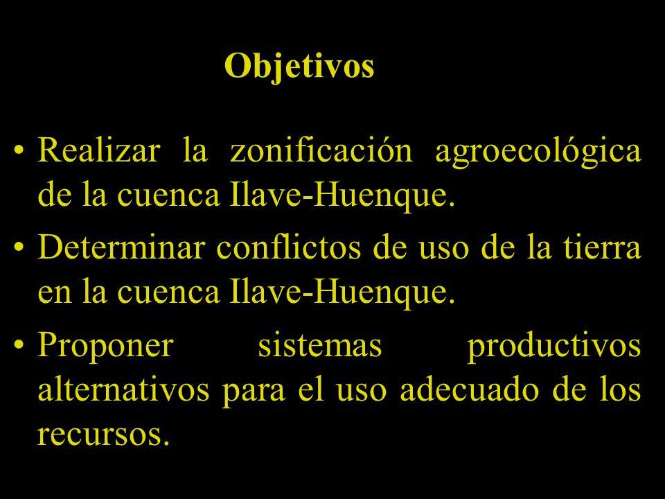 Objetivos Realizar la zonificación agroecológica de la cuenca Ilave-Huenque. Determinar conflictos de uso de la tierra en la cuenca Ilave-Huenque.