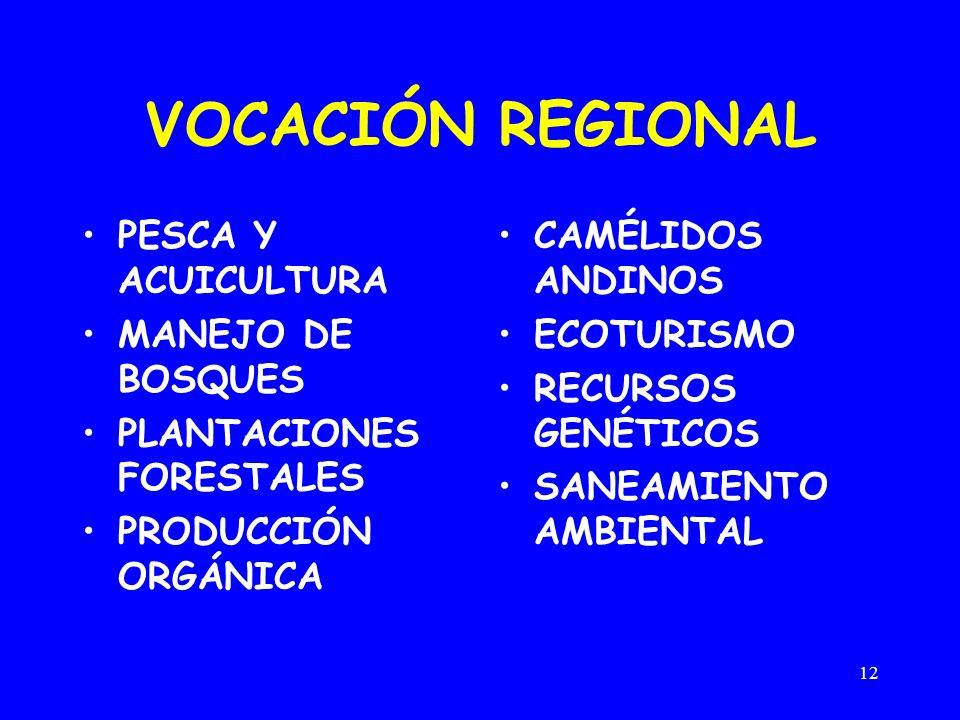 VOCACIÓN REGIONAL PESCA Y ACUICULTURA MANEJO DE BOSQUES