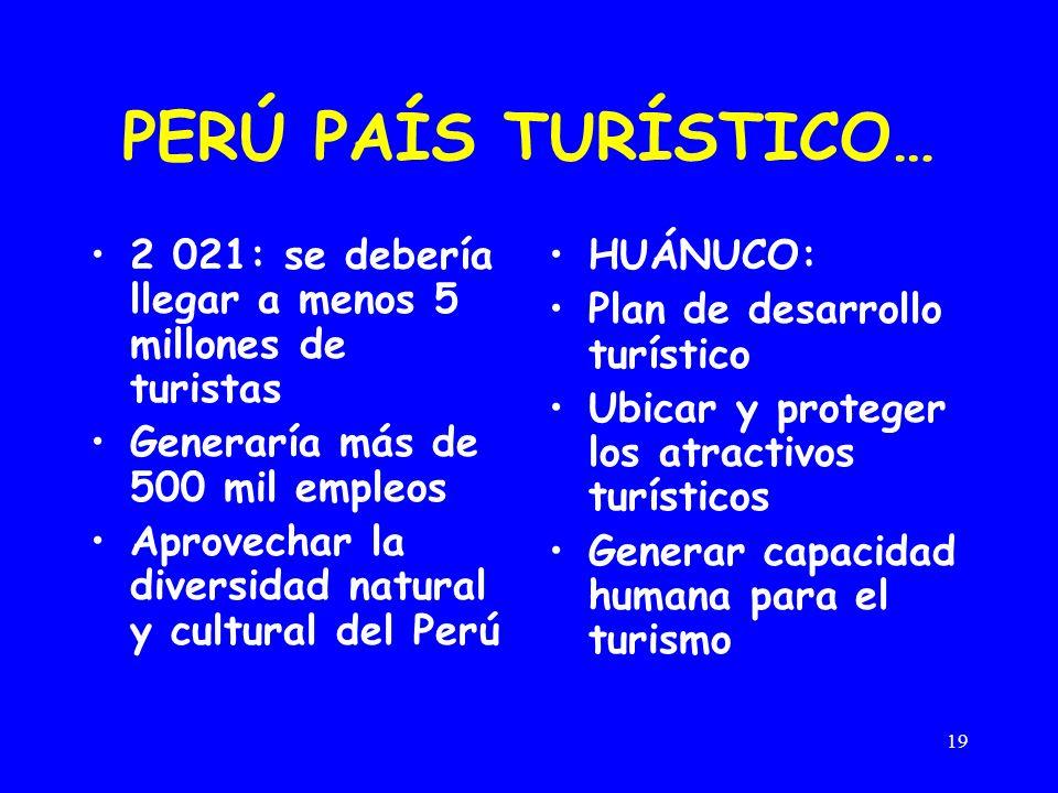 PERÚ PAÍS TURÍSTICO… 2 021: se debería llegar a menos 5 millones de turistas. Generaría más de 500 mil empleos.