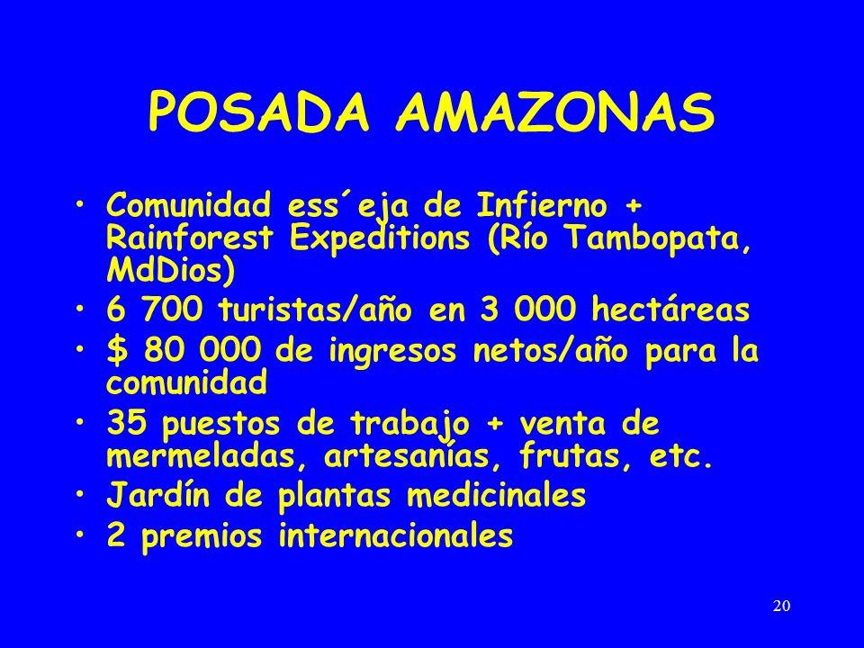 POSADA AMAZONAS Comunidad ess´eja de Infierno + Rainforest Expeditions (Río Tambopata, MdDios) 6 700 turistas/año en 3 000 hectáreas.