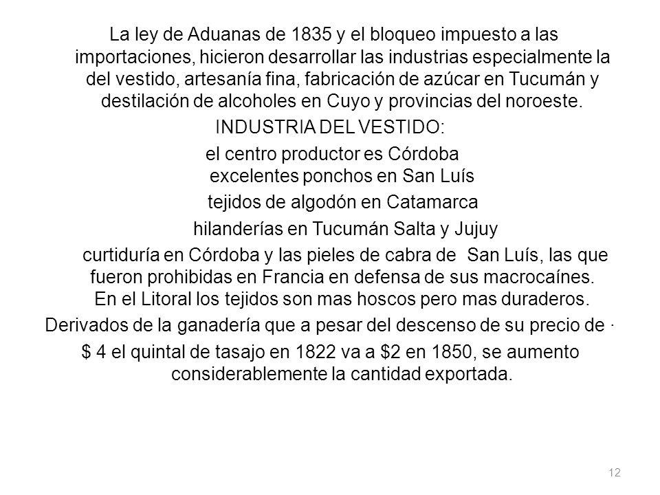La ley de Aduanas de 1835 y el bloqueo impuesto a las importaciones, hicieron desarrollar las industrias especialmente la del vestido, artesanía fina, fabricación de azúcar en Tucumán y destilación de alcoholes en Cuyo y provincias del noroeste.