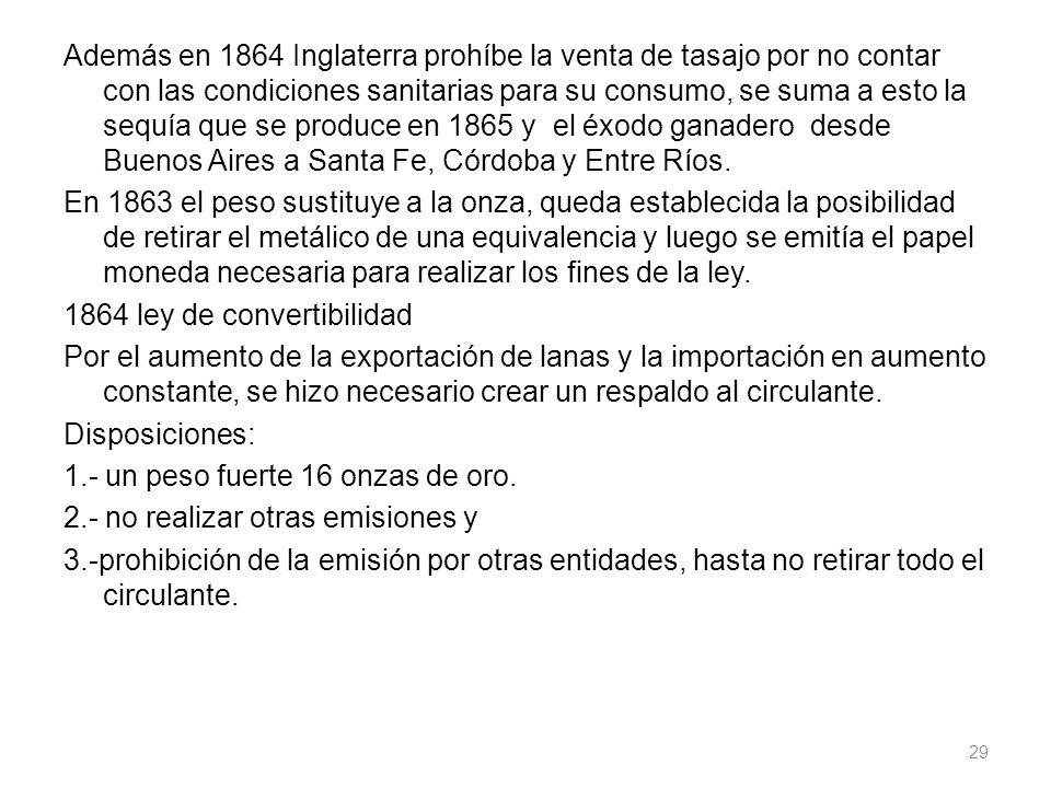 Además en 1864 Inglaterra prohíbe la venta de tasajo por no contar con las condiciones sanitarias para su consumo, se suma a esto la sequía que se produce en 1865 y el éxodo ganadero desde Buenos Aires a Santa Fe, Córdoba y Entre Ríos.