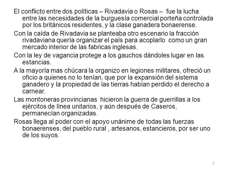 El conflicto entre dos políticas – Rivadavia o Rosas – fue la lucha entre las necesidades de la burguesía comercial porteña controlada por los británicos residentes, y la clase ganadera bonaerense.