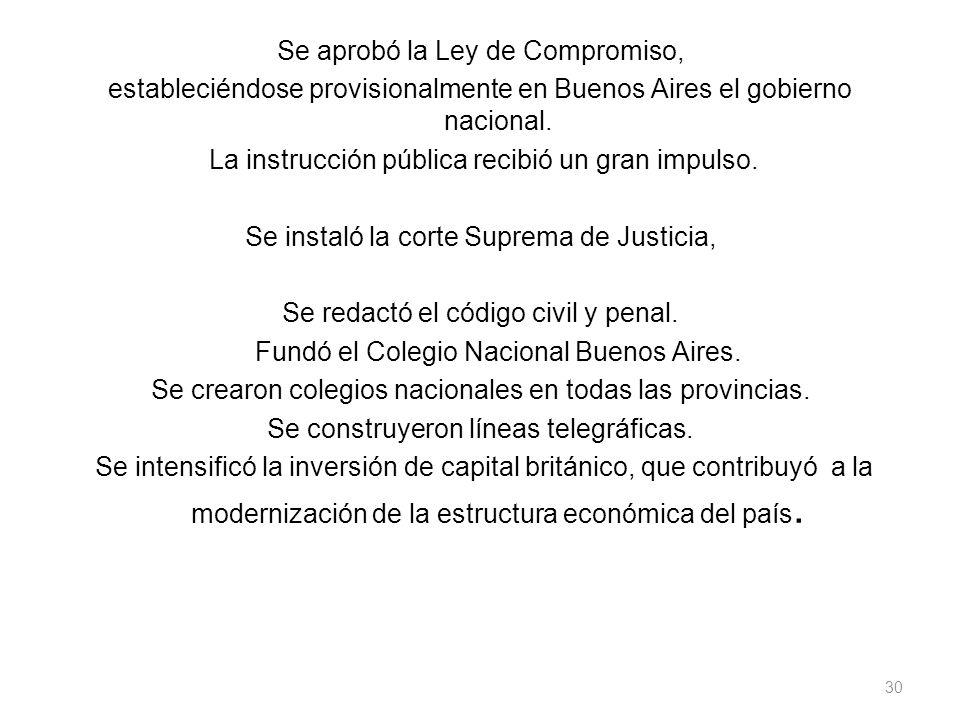 Se aprobó la Ley de Compromiso, estableciéndose provisionalmente en Buenos Aires el gobierno nacional.