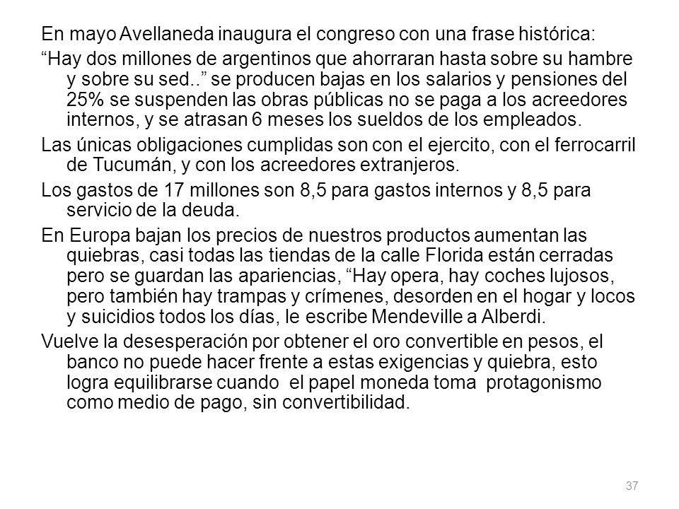 En mayo Avellaneda inaugura el congreso con una frase histórica: