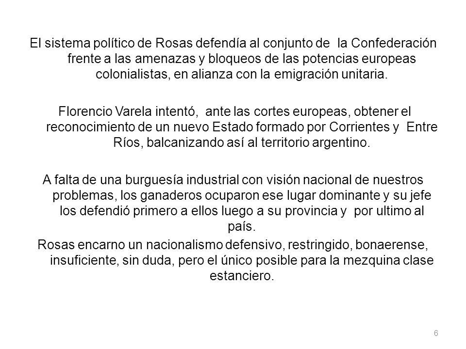 El sistema político de Rosas defendía al conjunto de la Confederación frente a las amenazas y bloqueos de las potencias europeas colonialistas, en alianza con la emigración unitaria.