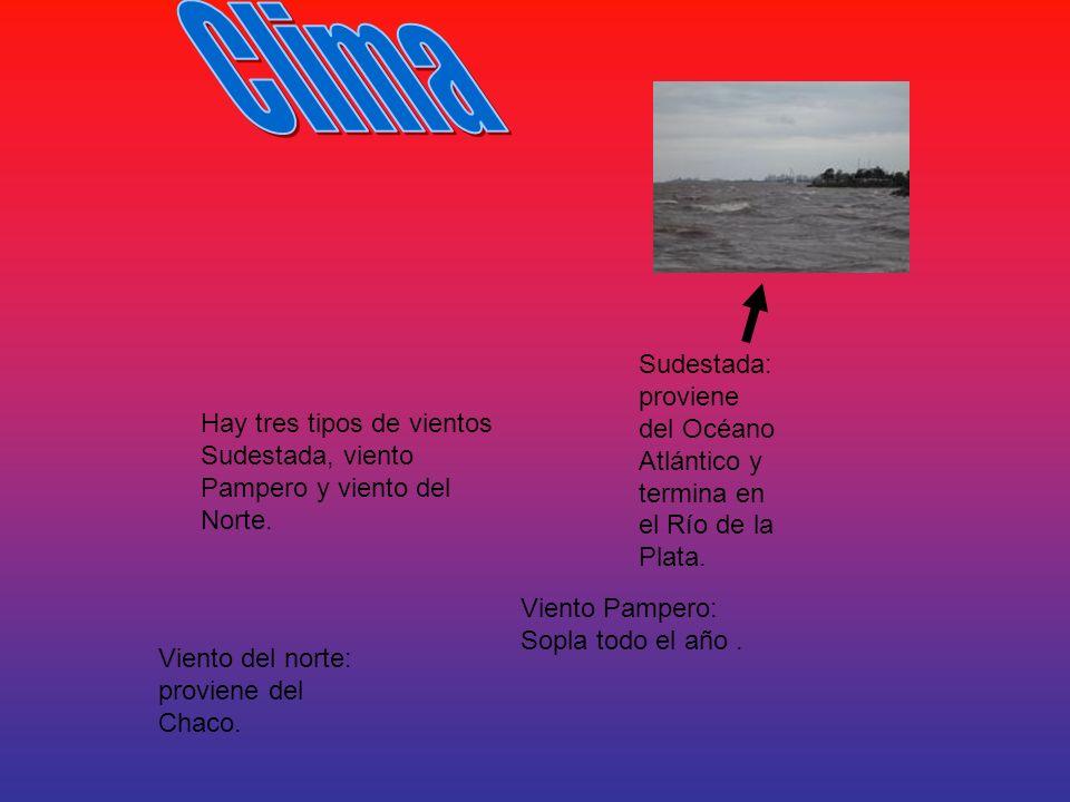 Clima Sudestada: proviene del Océano Atlántico y termina en el Río de la Plata.