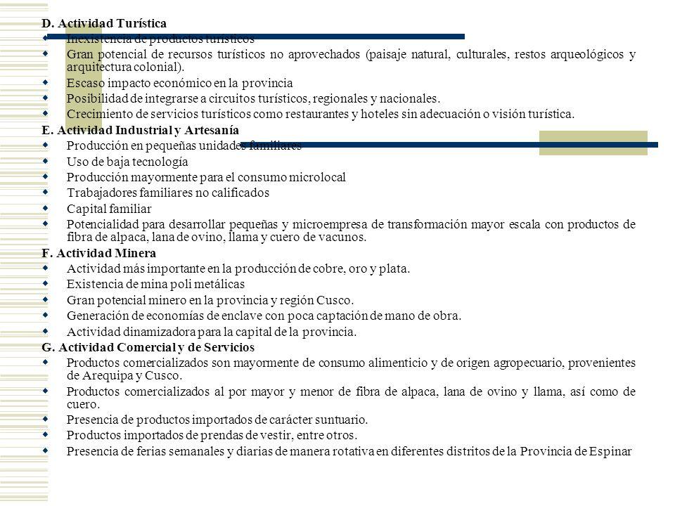 D. Actividad Turística Inexistencia de productos turísticos.