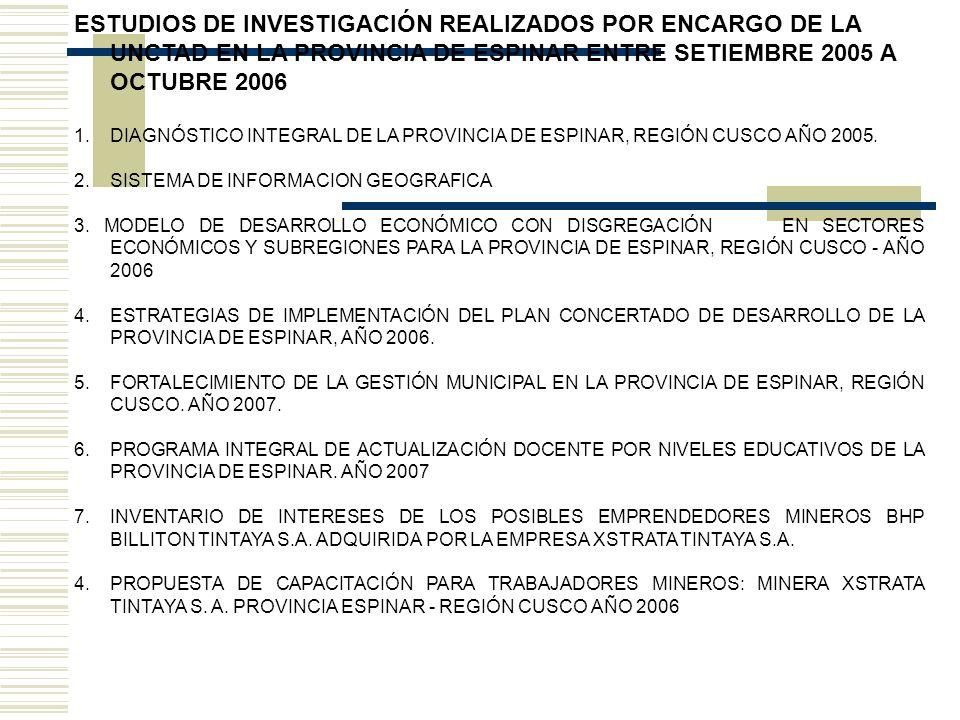 ESTUDIOS DE INVESTIGACIÓN REALIZADOS POR ENCARGO DE LA UNCTAD EN LA PROVINCIA DE ESPINAR ENTRE SETIEMBRE 2005 A OCTUBRE 2006