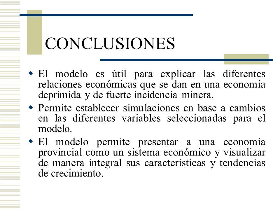 CONCLUSIONES El modelo es útil para explicar las diferentes relaciones económicas que se dan en una economía deprimida y de fuerte incidencia minera.
