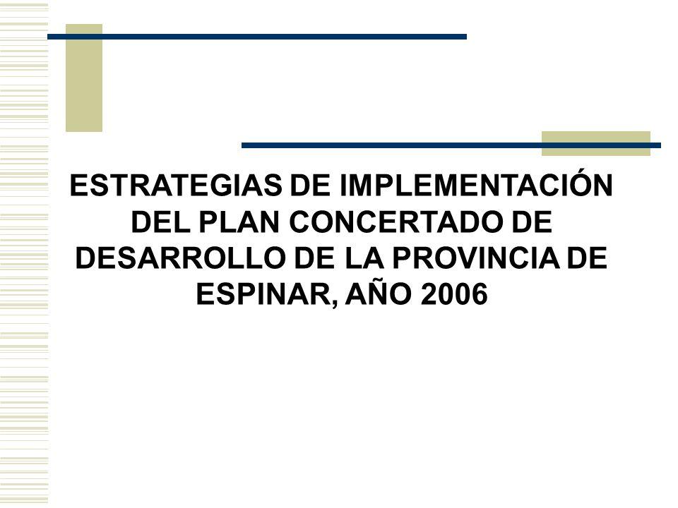 ESTRATEGIAS DE IMPLEMENTACIÓN DEL PLAN CONCERTADO DE DESARROLLO DE LA PROVINCIA DE ESPINAR, AÑO 2006