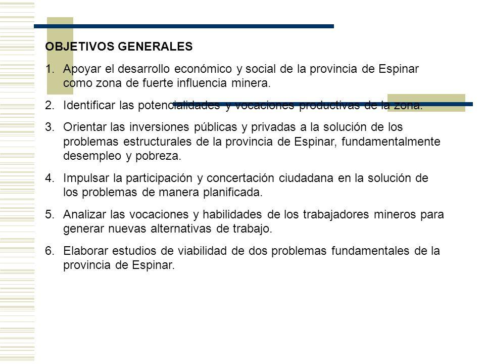 OBJETIVOS GENERALES Apoyar el desarrollo económico y social de la provincia de Espinar como zona de fuerte influencia minera.