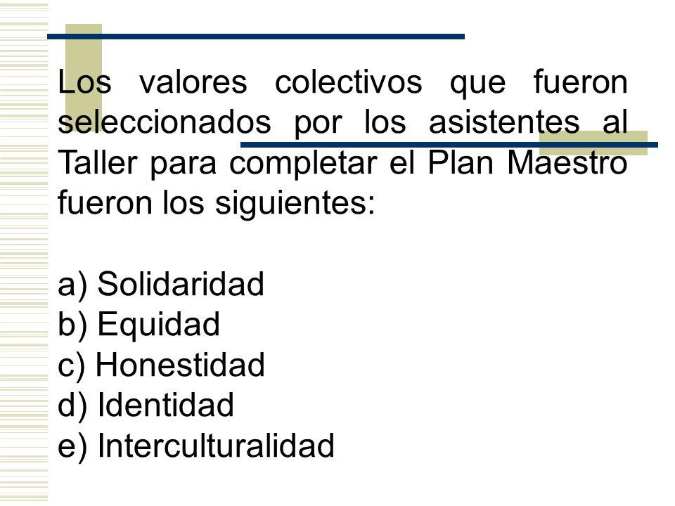Los valores colectivos que fueron seleccionados por los asistentes al Taller para completar el Plan Maestro fueron los siguientes: