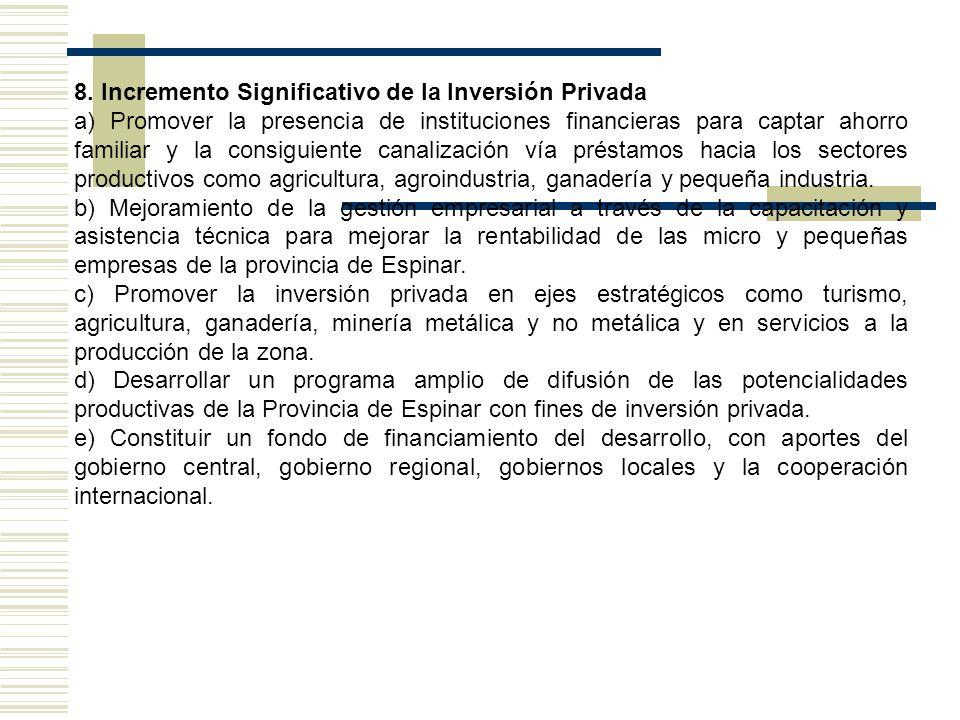 8. Incremento Significativo de la Inversión Privada