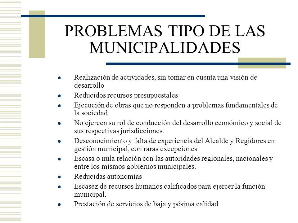 PROBLEMAS TIPO DE LAS MUNICIPALIDADES