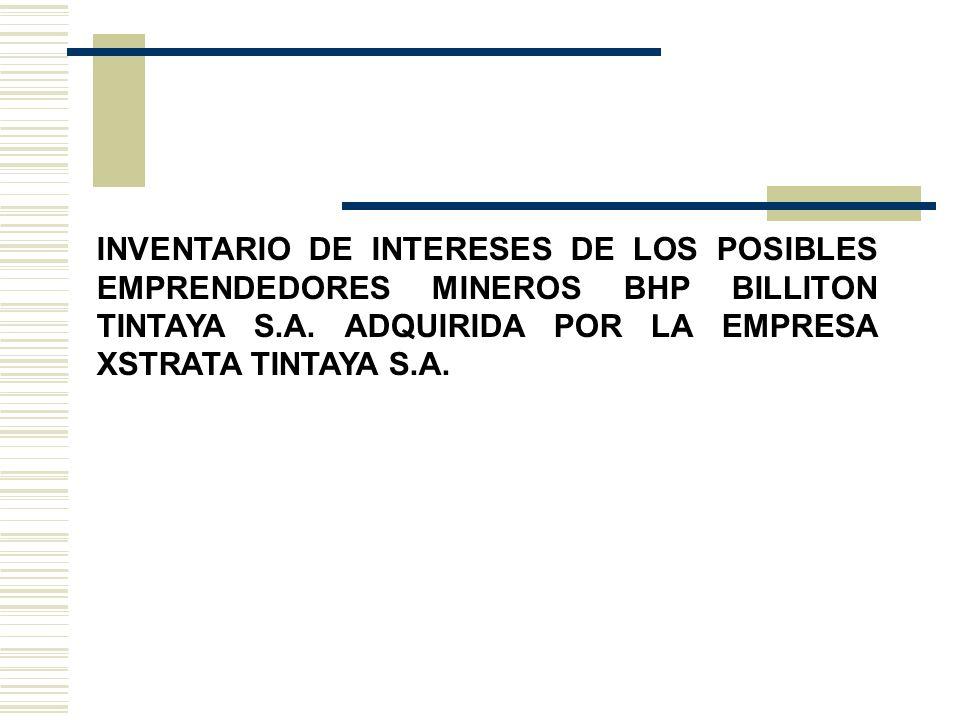 INVENTARIO DE INTERESES DE LOS POSIBLES EMPRENDEDORES MINEROS BHP BILLITON TINTAYA S.A.
