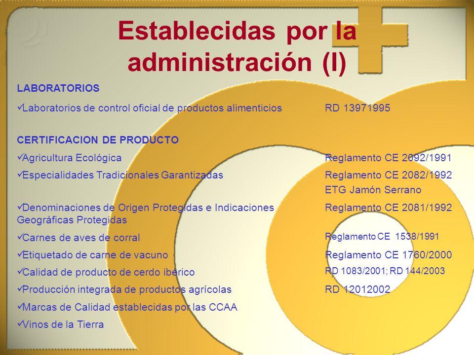 Establecidas por la administración (I)