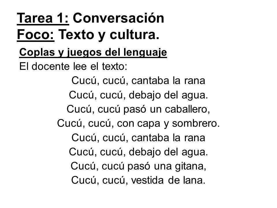 Tarea 1: Conversación Foco: Texto y cultura.