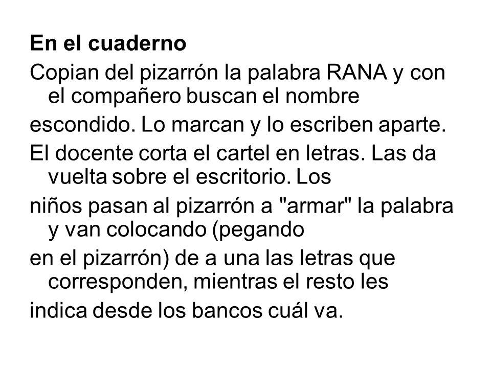 En el cuadernoCopian del pizarrón la palabra RANA y con el compañero buscan el nombre. escondido. Lo marcan y lo escriben aparte.