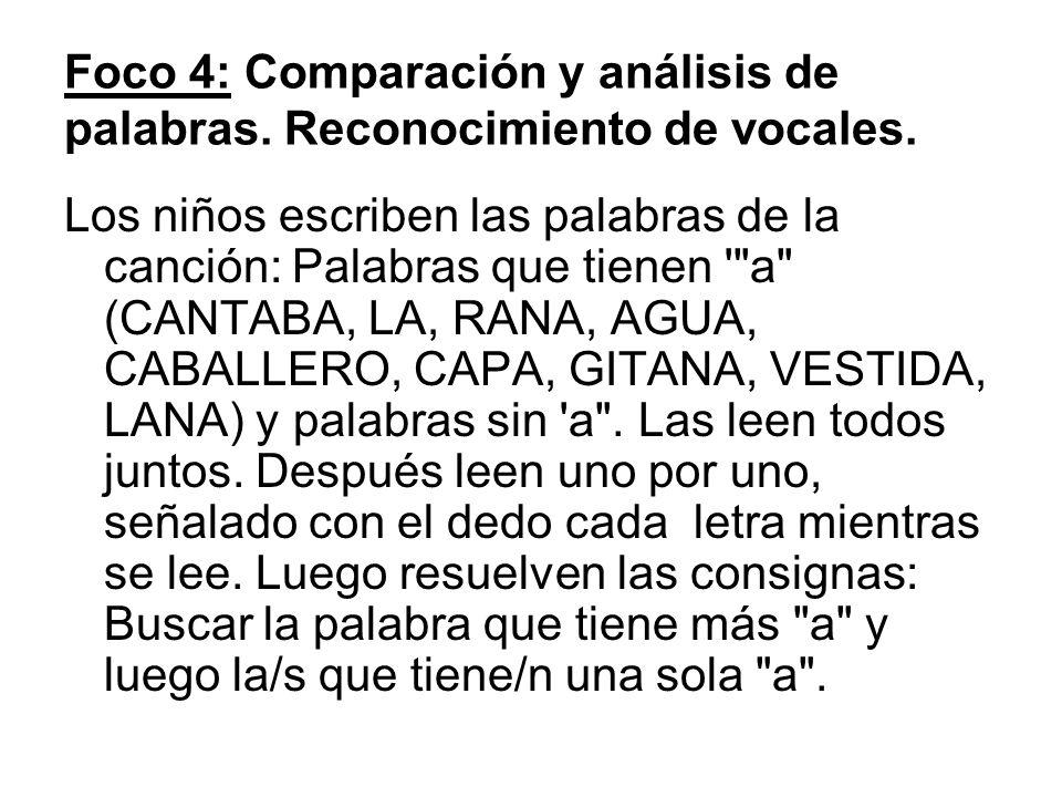 Foco 4: Comparación y análisis de palabras. Reconocimiento de vocales.