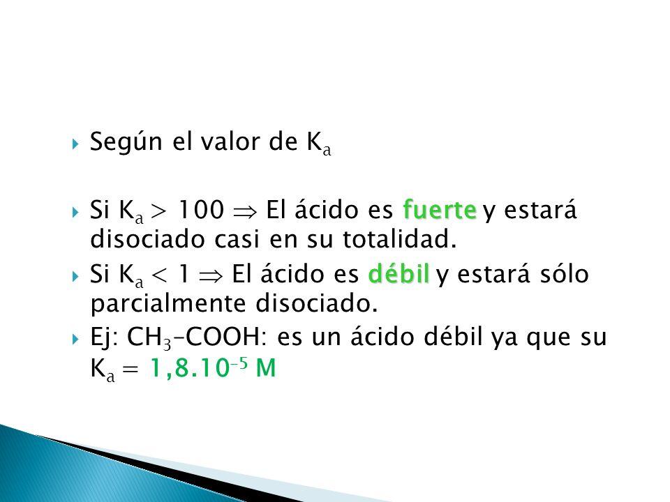 Según el valor de Ka Si Ka > 100  El ácido es fuerte y estará disociado casi en su totalidad.
