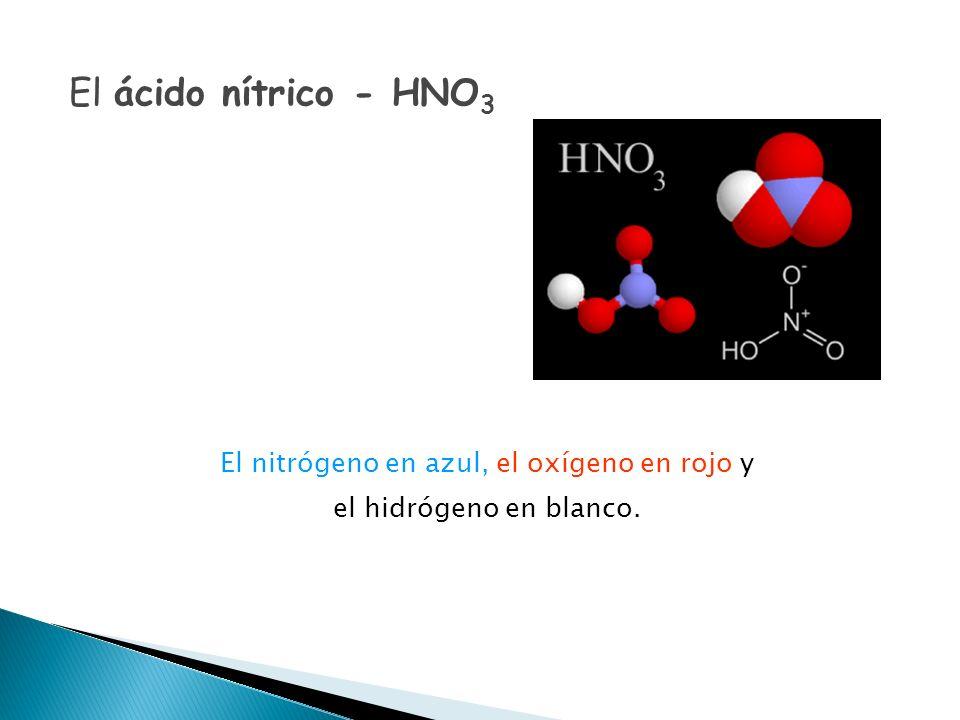 El nitrógeno en azul, el oxígeno en rojo y el hidrógeno en blanco.