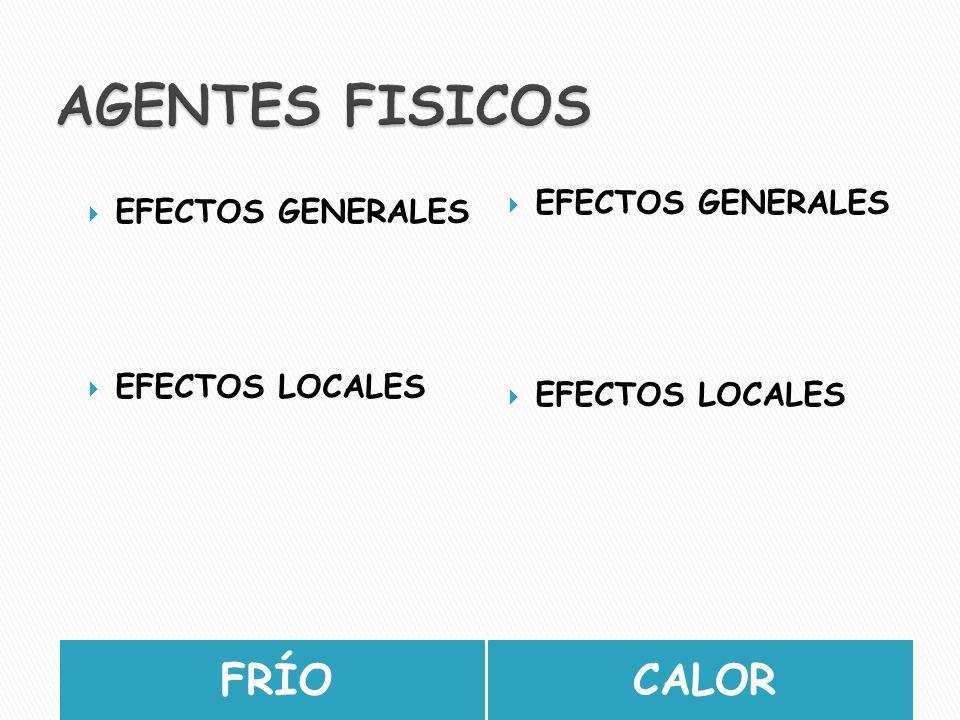 AGENTES FISICOS FRÍO CALOR EFECTOS GENERALES EFECTOS GENERALES