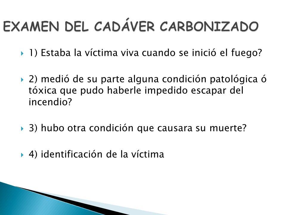 EXAMEN DEL CADÁVER CARBONIZADO