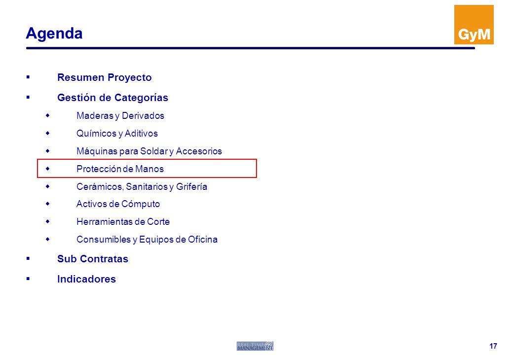 Agenda Resumen Proyecto Gestión de Categorías Sub Contratas