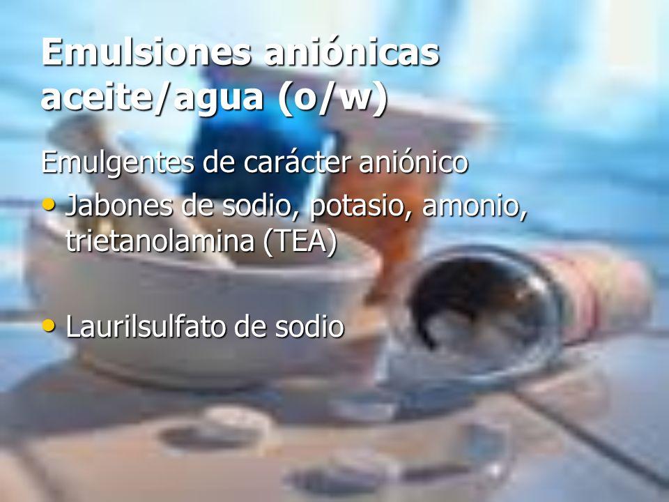 Emulsiones aniónicas aceite/agua (o/w)