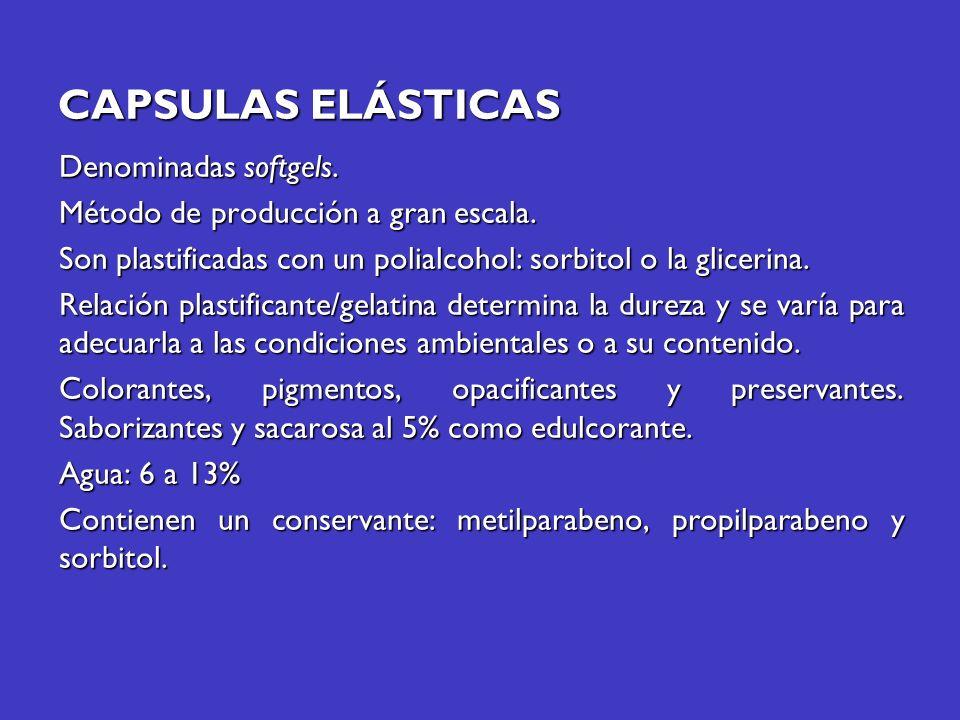 CAPSULAS ELÁSTICAS Denominadas softgels.