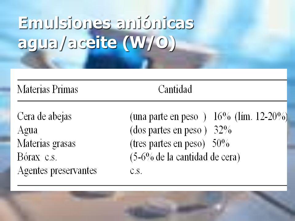 Emulsiones aniónicas agua/aceite (W/O)