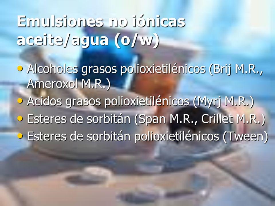 Emulsiones no iónicas aceite/agua (o/w)