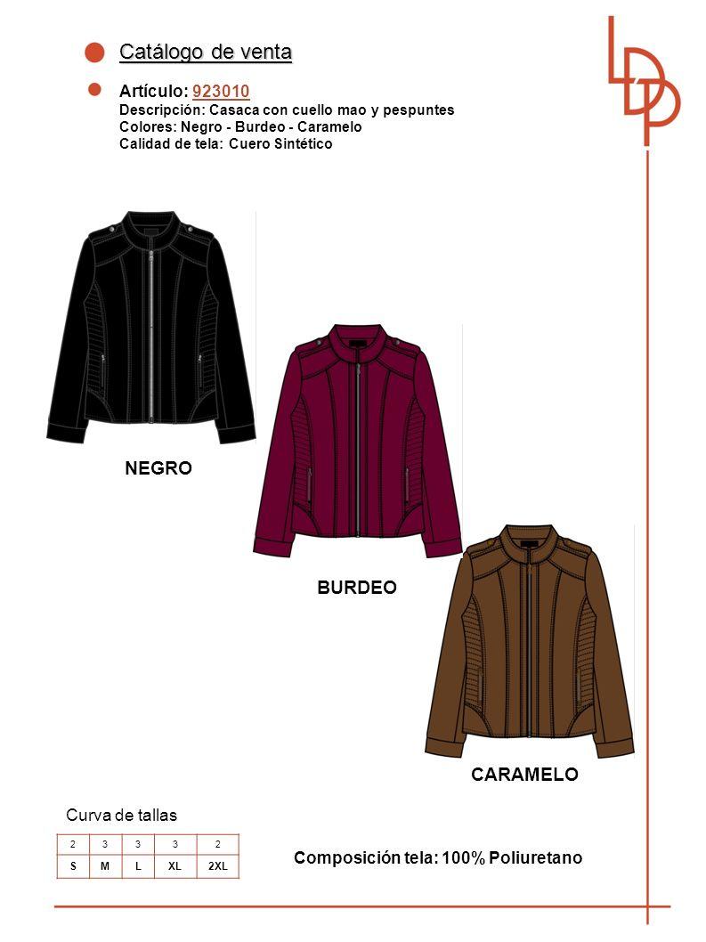 Catálogo de venta NEGRO BURDEO CARAMELO Artículo: 923010