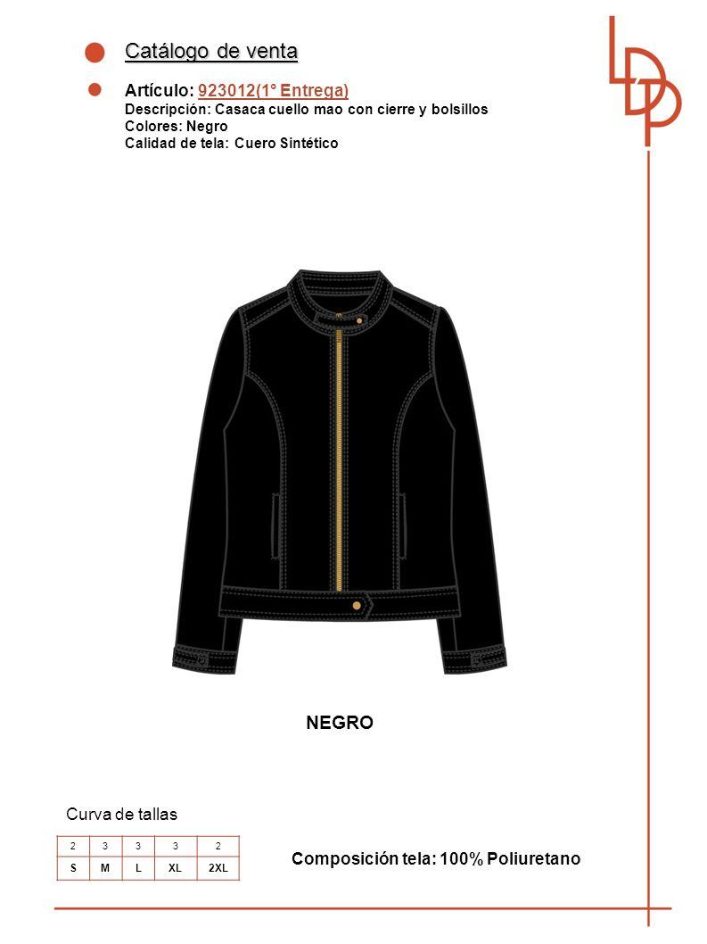 Catálogo de venta NEGRO Artículo: 923012(1° Entrega) Curva de tallas