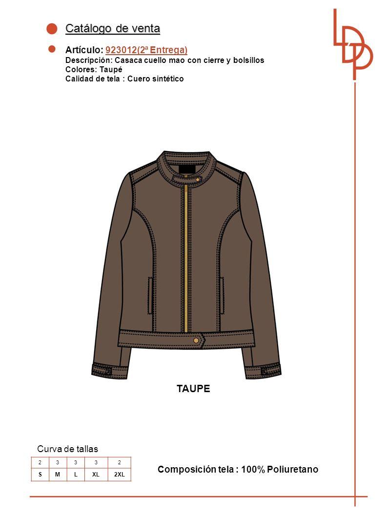 Catálogo de venta TAUPE Artículo: 923012(2ª Entrega) Curva de tallas